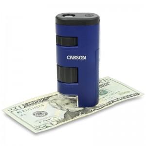 Джобен микроскоп с увеличение от 20 до 60 пъти с вградена LED светлина на Carson PocketMicro 2
